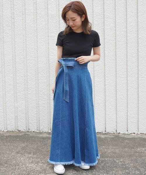 [STYLE AVENUE] リボンデニムロングスカート【大きいサイズ対応】