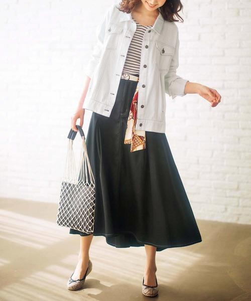 [GeeRA] スカーフ付ロングフレアースカート