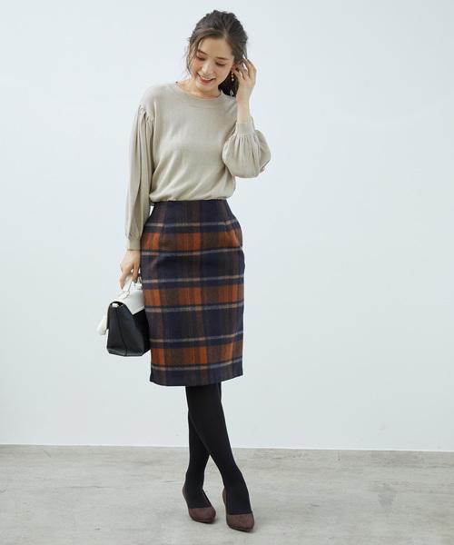 [ROPE' PICNIC] 【着丈が選べる】【WEB限定カラー:ブラック】ビッグチェックアイラインスカート