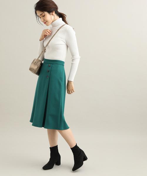 [ViS] 【EASY CARE】【着丈が選べる】ウォッシャブルフラノフレアスカート
