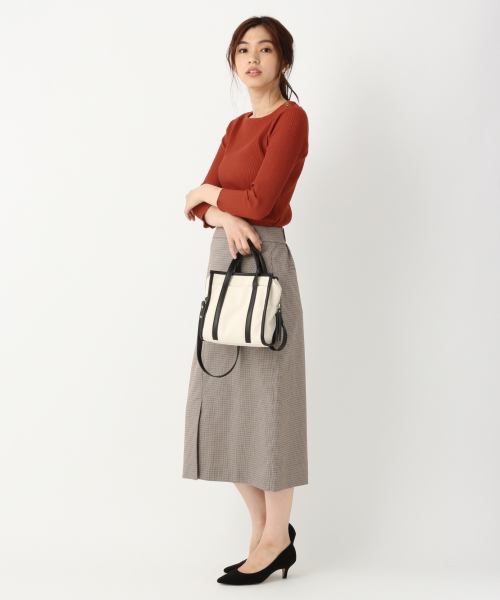 [GLOBAL WORK] 美(うつく)シルエットチェックタイトスカート/841605