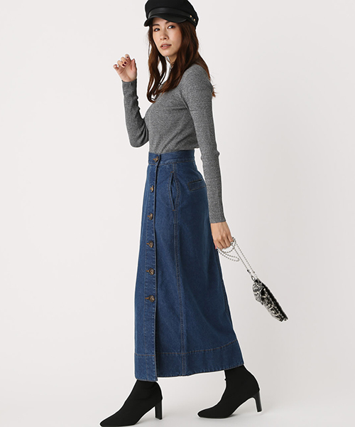 [AZUL BY MOUSSY] FRONT BUTTON DENIM LONG SKIRT/フロントボタンデニムロングスカート