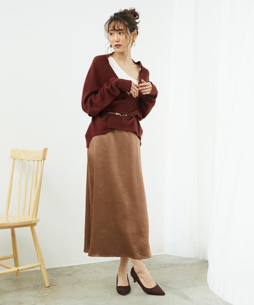 [ROPE' PICNIC] 【広瀬アリスさん着用】サテンフレアスカート