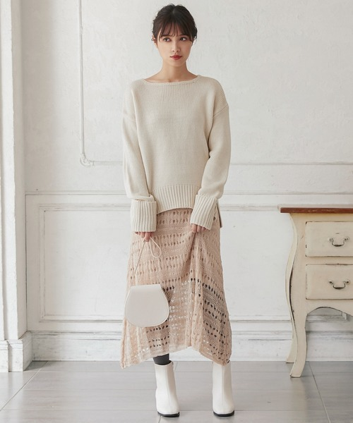 [kobelettuce] 透かし編みフレアニットスカート