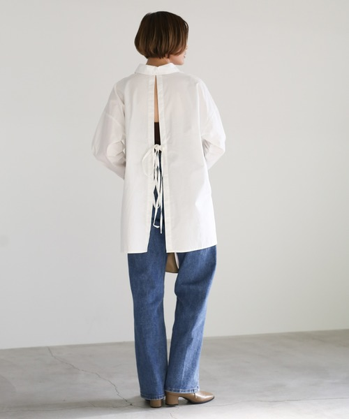 [select MOCA] 2020S/S バックデザインブラウス/コットン100%バックオープンリボンデザインサイドスリットスリーブタックシャツ