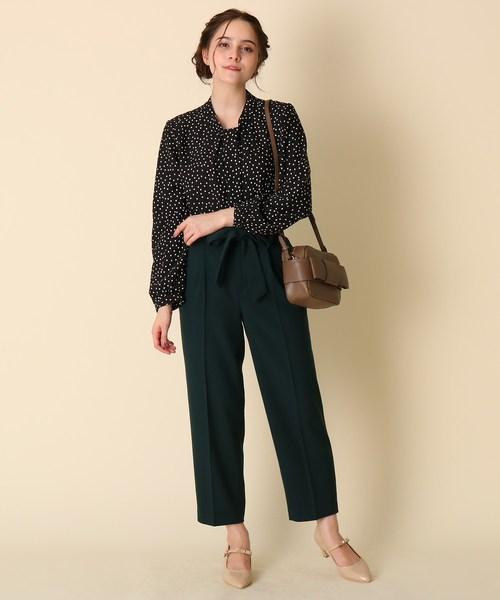 [Couture brooch] 【WEB限定プライス/WEB限定サイズ(LL)あり/手洗い可】ボウタイ風ブラウス