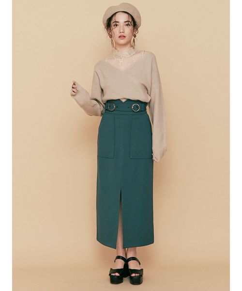 [MURUA] ダブルバックルハイウエストタイトスカート