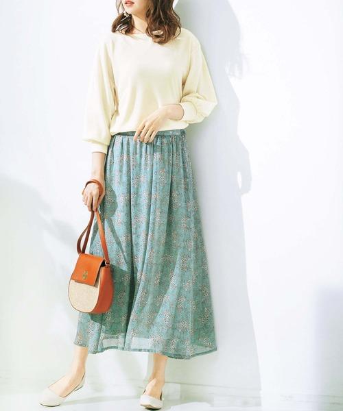 [GeeRA] 【20春新着】シフォンプリントフレアースカート2