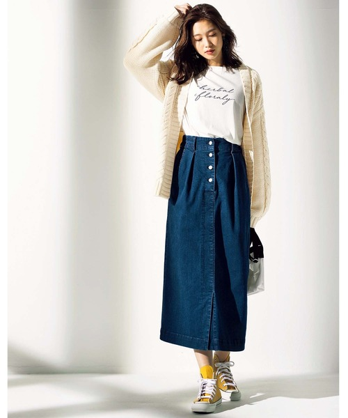 [GeeRA] 【20春新着】ストレッチデニムロングスカート