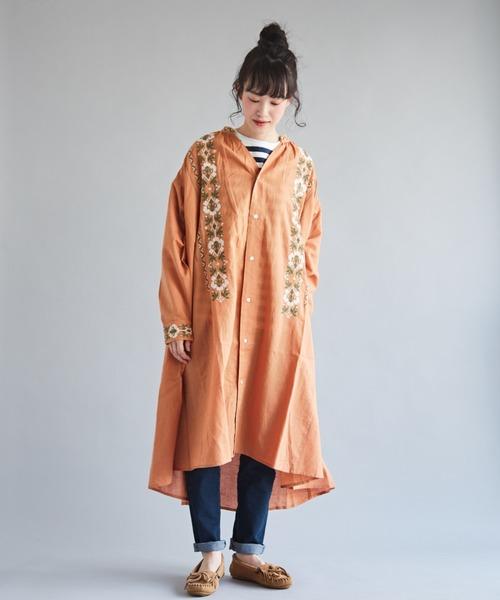 [CUBE SUGAR] インド 綿麻スラブ×刺繍 Vネック ギャザーワンピース