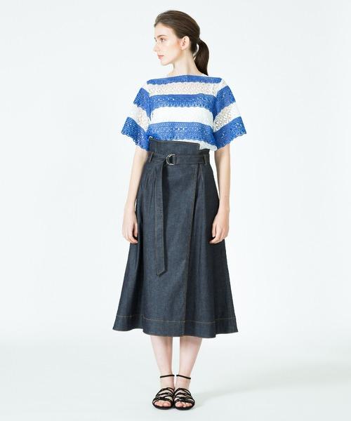 [allureville] デニムラップスカート