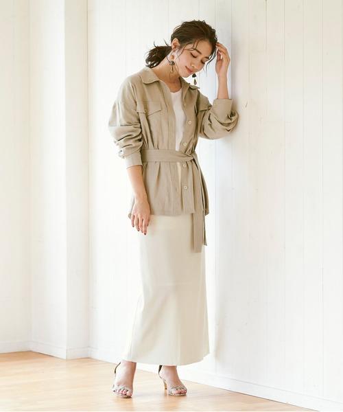 ミリタリーシャツ×リブナローロングスカート