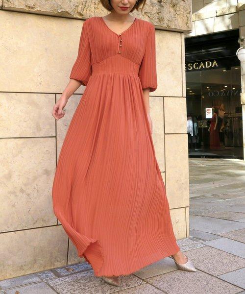 [My shawty] balloon sleeve pleats dress