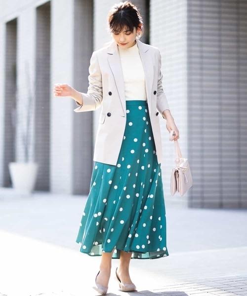 [a.v.v] リネンライクドットプリントスカート