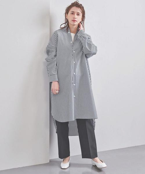 [UNITED ARROWS] <STYLE for LIVING>バンドカラー ストライプ シャツワンピース†
