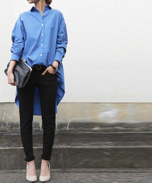 ビッグシャツ×黒スキニーの春ファッション