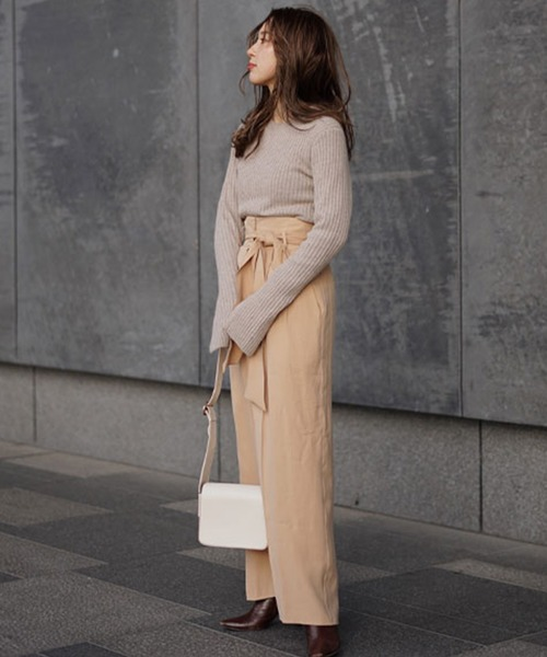 [ETRE TOKYO] ハイウエストリボンベルトワイドパンツ