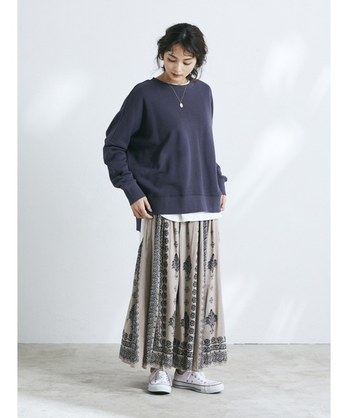 [CRAFT STANDARD BOUTIQUE] 【2020SS】PRINTED GATHER SKIRT/パネル柄マキシギャザースカート○*