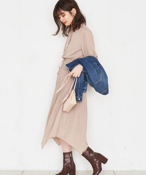 [natural couture] 【WEB限定カラー有り】アシメプリーツプチハイフリルワンピース