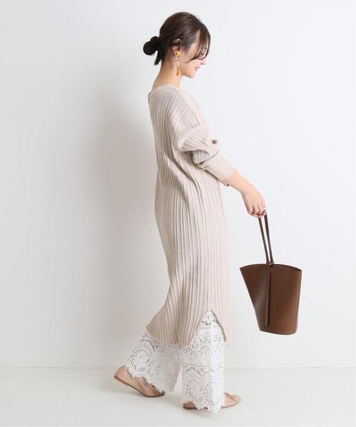 米駝色不規則羅紋連身裙