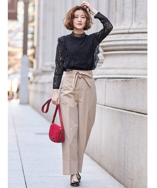 [tocco closet] ウエストデザイン裾折り返しワイドパンツ
