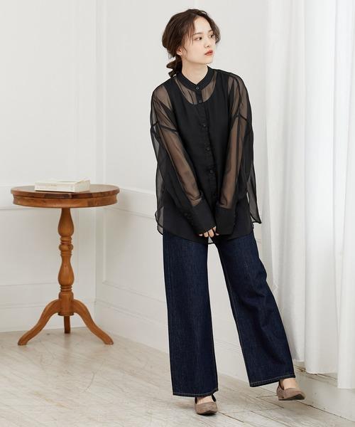 [ViS] 【WEB限定】【SET】タンクトップ付シアーバンドカラーシャツ