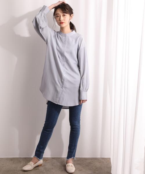 [ViS] 【ZOZOTOWN限定】微光沢バンドカラードレスシャツ