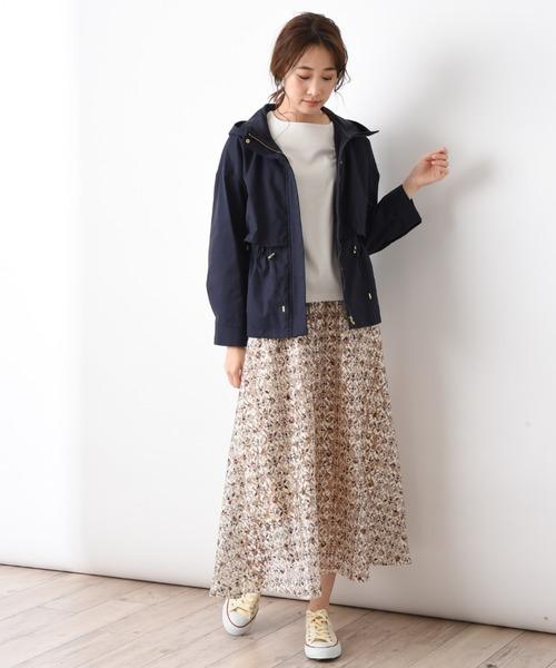 [INTERPLANET/actuel] レース小紋柄プリントフレアースカート