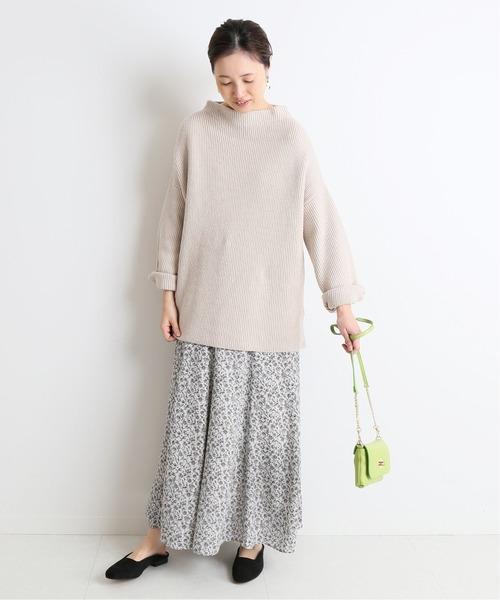 [IENA] フラワープリントパネルフレアースカート◆