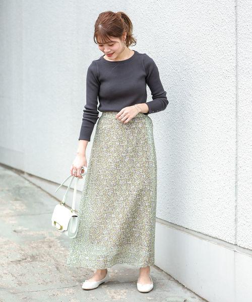 [SHIPS for women] フラワープリントスカート◇