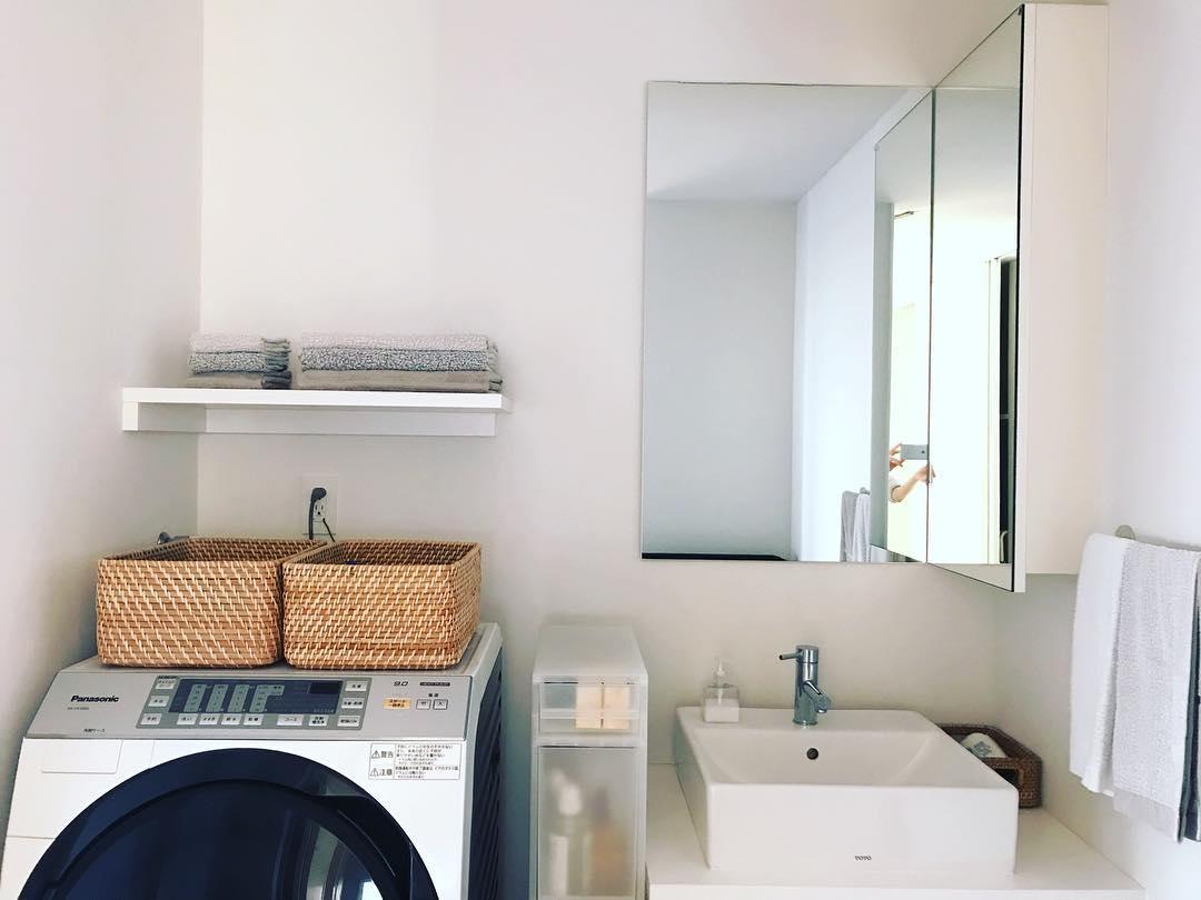 タオル収納が気持ちの良い洗面所