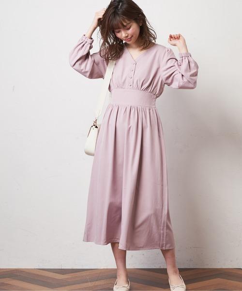 [natural couture] 【WEB限定カラー有り】Vネックハイウエストワンピース