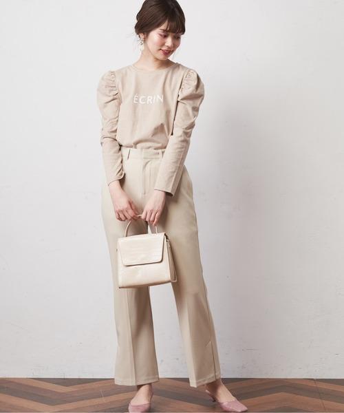 [natural couture] カットジョーゼットサイドベンツパンツ