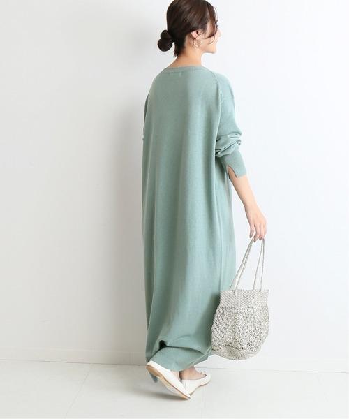 朦朧綠針織連身裙