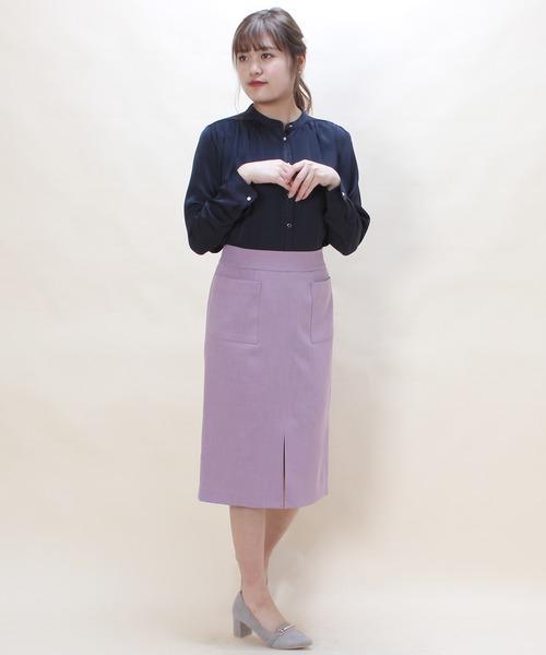 [ASTORIA ODIER] (日本製)フロントポケット付きタイトスカート