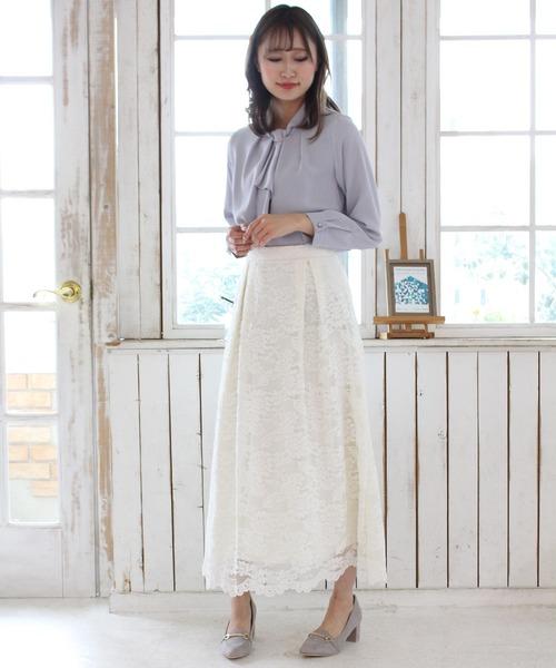 [ASTORIA ODIER] 総レース裾スカラップ ロングスカート