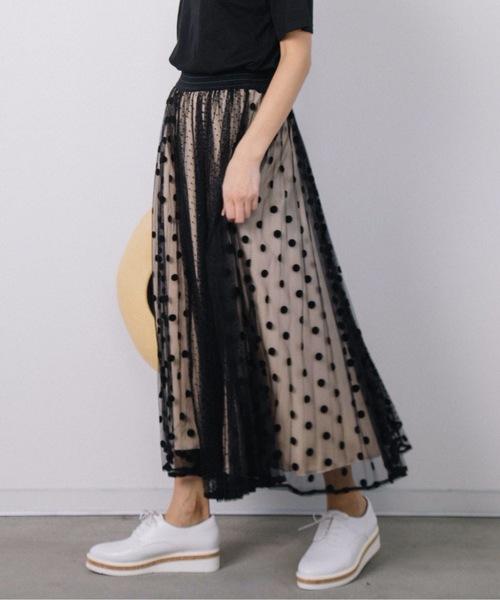 [eversince] ドットチュールプリーツスカート