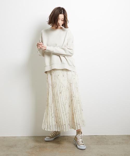 [ROPE' PICNIC] 【WEB限定】線描きフラワープリーツスカート