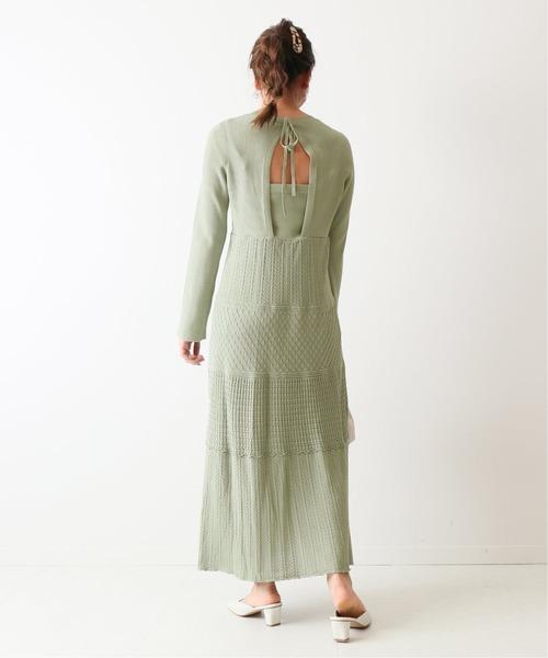 朦朧綠背後鏤空鉤針編織連身裙