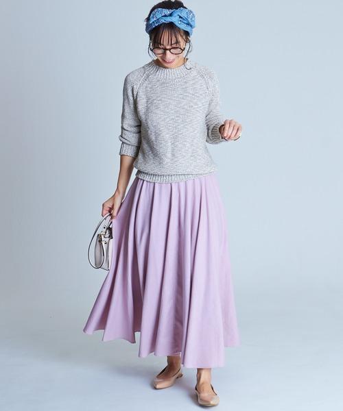 [furryrate] リネンコットン グログランフレアロングスカート<2020 Spring / New Arrival>