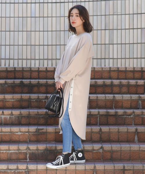 [LIPSTAR] スムース裾ボタンロングワンピース