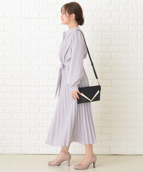 [Lace Ladies] リボン付 プリーツ ロングワンピース