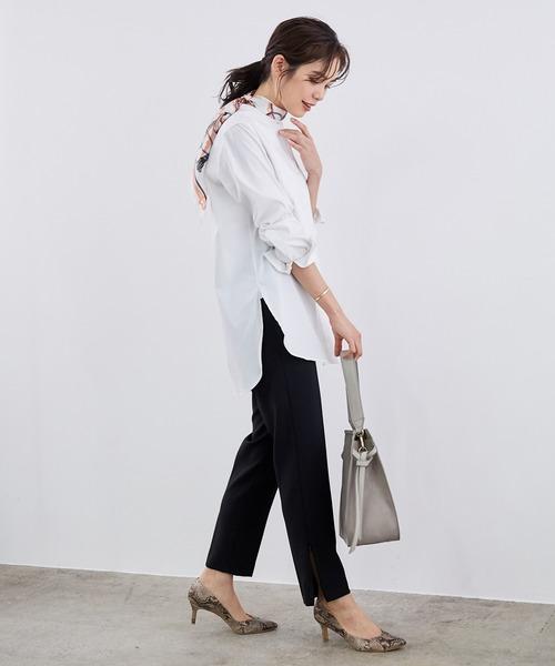 きれいめファッション◎ロングシャツ×黒パンツ