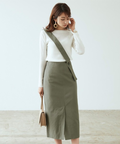 [titivate] ワンショルダーベルト付きフロントスリットスカート