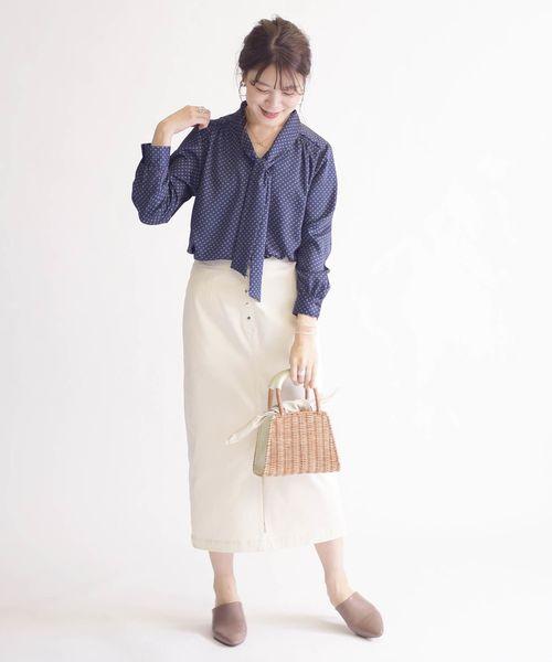[SHIPS for women] 小紋ボウタイブラウス◇