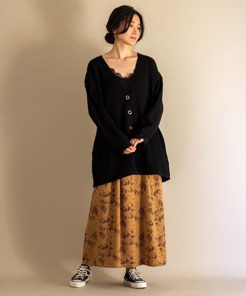 [ottilie] サイドリボンフレアースカート