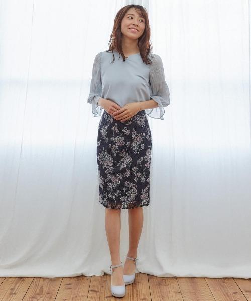 [MISCH MASCH] 花柄レースタイトスカート