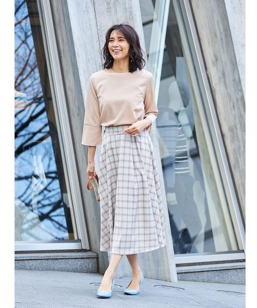 [tocco closet] ヘリンボーン×チェック柄ロングスカート