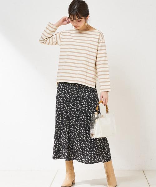 [natural couture] マーガレット花柄パイピングスカート