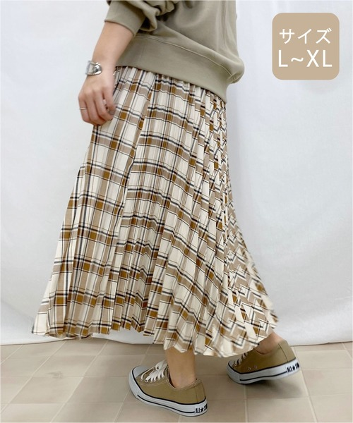 [apres jour mignon] 【大きいサイズ】チェックプリーツスカート【ZOZOTOWN限定アイテム】